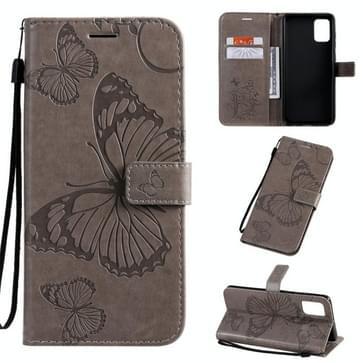 Voor Galaxy A71 Geperst printen Vlinderpatroon Horizontaal Flip PU Lederen hoesje met Houder & Card Slots & Wallet & Lanyard(Grijs)