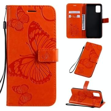 Voor Galaxy A71 Geperst printen Vlinderpatroon Horizontaal Flip PU Lederen hoesje met Houder & Card Slots & Wallet & Lanyard(Orange)
