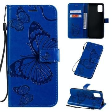 Voor Galaxy A71 Geperst printen Vlinderpatroon Horizontaal Flip PU Lederen hoesje met Holder & Card Slots & Wallet & Lanyard(Blauw)