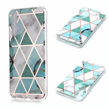 Voor Huawei nova 5T Plating Marble Pattern Soft TPU Protective Case (Groen Wit)
