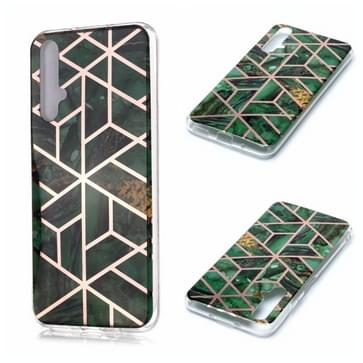 Voor Huawei nova 5T Plating Marble Pattern Soft TPU Protective Case(Groen)