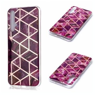 Voor Huawei nova 5T Plating Marble Pattern Soft TPU Protective Case(Paars)