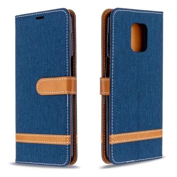 Voor Xiaomi Redmi Note 9 / Note 9S / Note 9 Pro Color Matching Denim Texture Horizontal Flip Leather Case with Holder & Card Slots & Wallet & Lanyard(Dark Blue)