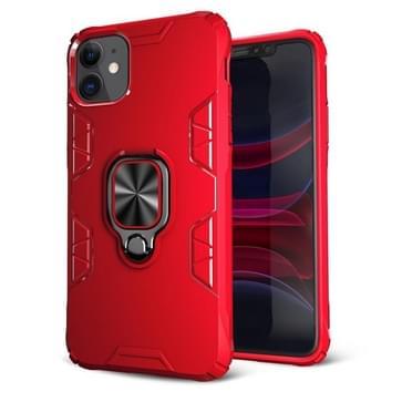 Voor iPhone 11 Schokbestendige TPU Full Coverage Beschermhoes met 360 graden roterende ringhouder(Rood)
