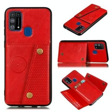 Voor Galaxy M31 PU + TPU Schokbestendige magnetische beschermhoes met kaartslots(rood)