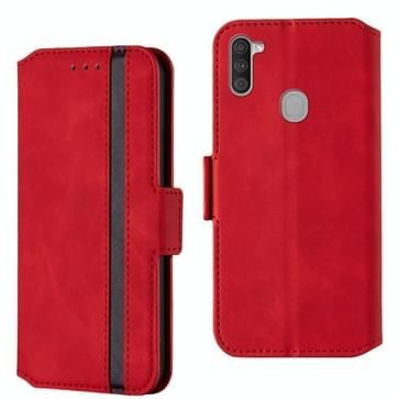 Voor Galaxy A11 Vintage Matte Olie-edge horizontale flip lederen behuizing met bracket & card slots(rood)