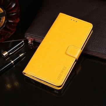 Voor Oukitel C5 Pro idewei Crazy Horse Texture Horizontale Flip Lederen Case met Holder & Card Slots & Wallet(Geel)