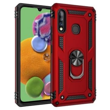 Voor Galaxy A70e Schokbestendige TPU + PC Beschermhoes met 360 Graden Roterende Houder (Rood)