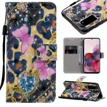 Voor Galaxy S20 3D Painting Horizontale Flip Lederen kast met Holder & Card Slot & Lanyard(Roze Vlinders)
