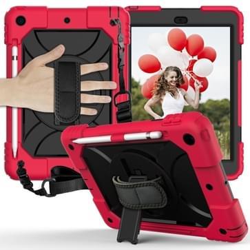 Voor iPad 10.2 Schokbestendige PC + Siliconen combinatiecase met houder & handband & schouderband(Rood+Zwart)