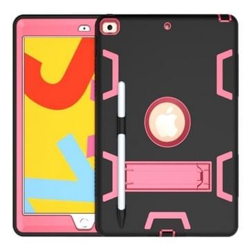 Voor iPad 10.2 Schokbestendige PC + Siliconen beschermhoes met houder & pensleuf (Zwart+Rose Red)