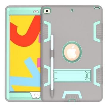 Voor iPad 10.2 Schokbestendige PC + Siliconen beschermhoes met houder & pensleuf (Grijs + Mintgroen)