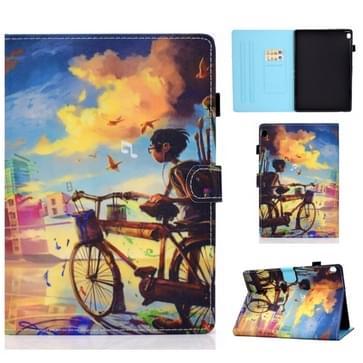 Voor Lenovo Tab M10 HD TB-X505F Gekleurde tekening stiksels horizontale flip lederen behuizing  met Holder & Card Slots & Sleep / Wake-up Functie(Cycling Boy)