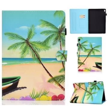 Voor Lenovo Tab M10 HD TB-X505F Gekleurde tekening stiksels horizontale flip lederen behuizing  met Holder & Card Slots & Sleep / Wake-up Functie(Strand)
