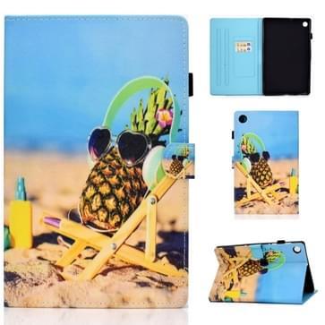 Voor Lenovo Tab M10 Plus TB-X606F Gekleurde tekening stiksels horizontale flip lederen behuizing  met Holder & Card Slots & Sleep / Wake-up Functie(Pineapple)