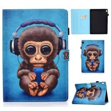 Voor Lenovo Tab M10 HD TB-X505F Gekleurde tekening stiksels horizontale flip lederen behuizing  met Holder & Card Slots & Sleep / Wake-up Functie(Headphone Monkey)