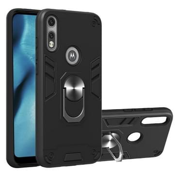 Voor Motorola Moto E7 2 in 1 Armour Series PC + TPU Beschermhoes met Ringhouder (Zwart)