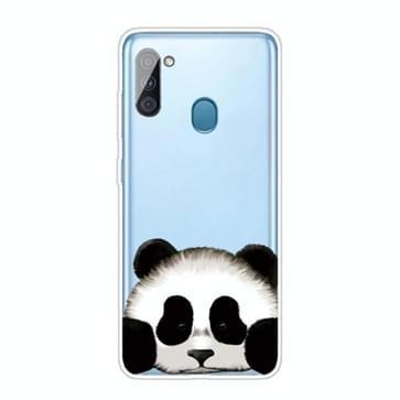 Voor Samsung Galaxy A11 gekleurd tekenpatroon zeer transparante TPU beschermhoes (Panda)
