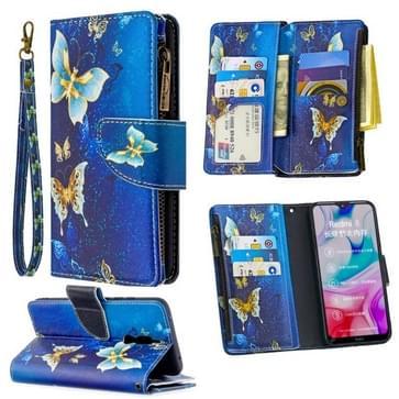 Voor Xiaomi Redmi 8 Gekleurd tekenpatroon Rits Horizontale Flip Lederen case met Holder & Card Slots & Wallet(Gold Butterfly)
