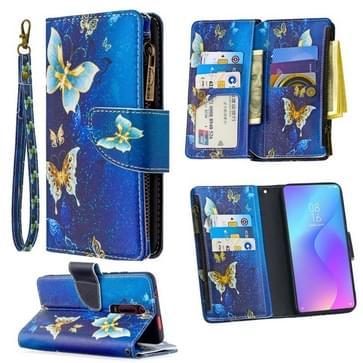 Voor Xiaomi Redmi K20 / Mi 9T Gekleurd tekenpatroon Rits Horizontale Flip Lederen case met Holder & Card Slots & Wallet(Gold Butterfly)