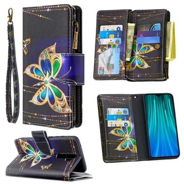 Voor Xiaomi Redmi Note 8 Pro Gekleurd tekenpatroon Rits Horizontale Flip Lederen case met Holder & Card Slots & Wallet(Big Butterfly)