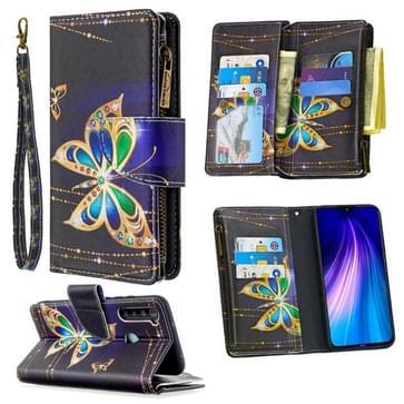 Voor Xiaomi Redmi Note 8 Gekleurd tekenpatroon Rits Horizontale Flip Lederen case met Holder & Card Slots & Wallet(Big Butterfly)