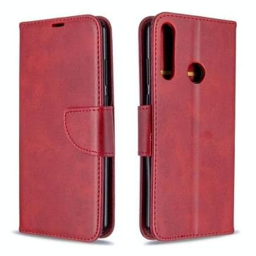 Voor Huawei Y6P Retro Lambskin Texture Pure Color Horizontale Flip PU Lederen kast met Holder & Card Slots & Wallet & Lanyard(Red)