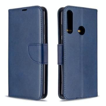 Voor Huawei Y6P Retro Lambskin Texture Pure Color Horizontale Flip PU Lederen kast met Holder & Card Slots & Wallet & Lanyard(Blauw)