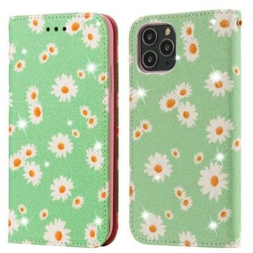 Voor iPhone 11 Pro Glinsterende Daisy Magnetic Horizontal Flip Leather Case met Holder & Card Slots & Photo Frame(Groen)