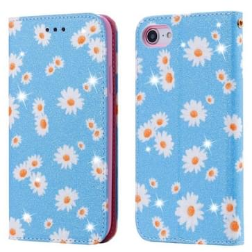 Voor iPhone SE 2020 / 8 / 7 Glinsterende Daisy Magnetic Horizontal Flip Leather Case met Holder & Card Slots & Photo Frame(Blauw)