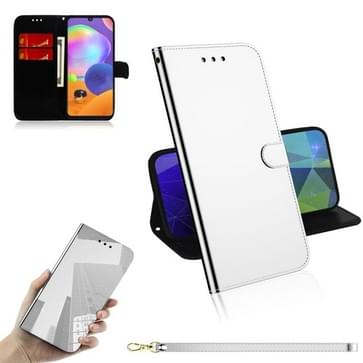 Voor Samsung Galaxy A31 Lmitated Mirror Surface Horizontale Flip Lederen case met Holder & Card Slots & Wallet & Lanyard(Zilver)