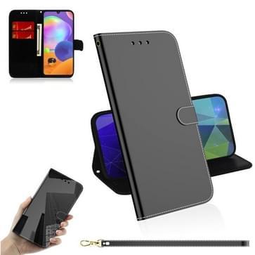 Voor Samsung Galaxy A31 Lmitated Mirror Surface Horizontale Flip Lederen case met Holder & Card Slots & Wallet & Lanyard(Zwart)