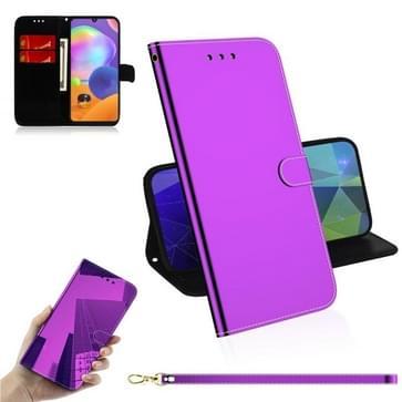 Voor Samsung Galaxy A31 Lmitated Mirror Surface Horizontale Flip Lederen case met Holder & Card Slots & Wallet & Lanyard(Paars)