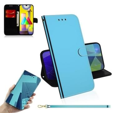 Voor Samsung Galaxy M31 Lmitated Mirror Surface Horizontale Flip Lederen case met Holder & Card Slots & Wallet & Lanyard(Blue)