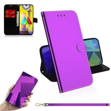 Voor Samsung Galaxy M31 Lmitated Mirror Surface Horizontale Flip Lederen case met Holder & Card Slots & Wallet & Lanyard(Paars)