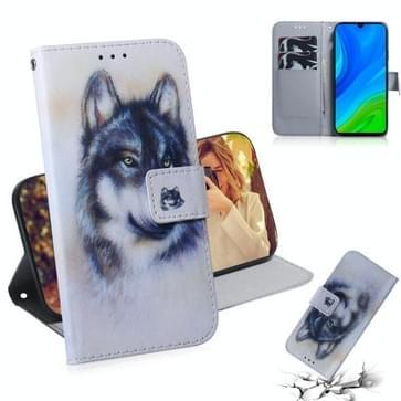 Voor Huawei P Smart 2020 Gekleurde tekening horizontale flip lederen kast met houder & kaartslot & portemonnee(Witte Wolf)