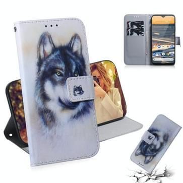 Voor Nokia 5.3 Gekleurde tekening horizontale flip lederen kast met houder & kaartslot & portemonnee(Witte Wolf)