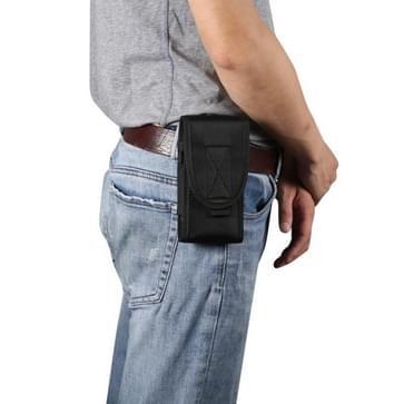 Voor 6 7 inch en onderstaande telefoons multifunctionele universele verticale nylon stof taille tas tactische riem tas (zwart)