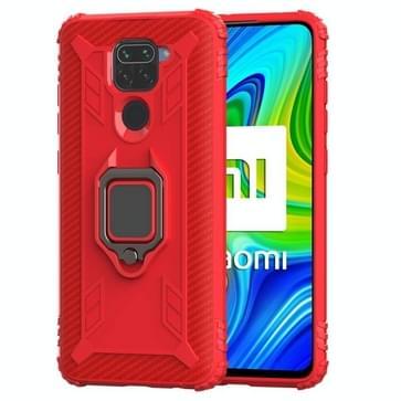Voor Xiaomi Redmi 10X / Note 9 Carbon Fiber Protective Case met 360 graden roterende ringhouder(Rood)
