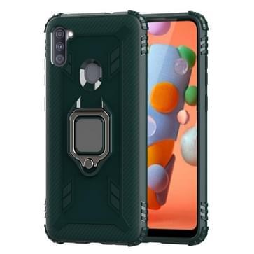 Voor Samsung Galaxy A11 (US-versie) Carbon Fiber Beschermhoes met 360 graden roterende ringhouder(groen)