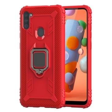 Voor Samsung Galaxy A11 (AMERIKAANSE versie) Carbon Fiber Beschermhoes met 360 graden roterende ringhouder (rood)