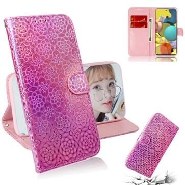 Voor Samsung Galaxy A51 5G Solid Color Kleurrijke Magnetische gesp Horizontale Flip PU Lederen case met Holder & Card Slots & Wallet & Lanyard(Pink)