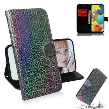 Voor Samsung Galaxy A51 5G Solid Color Kleurrijke Magnetische gesp Horizontale Flip PU Lederen case met Holder & Card Slots & Wallet & Lanyard(Zilver)