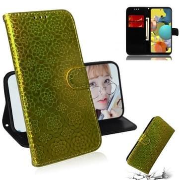 Voor Samsung Galaxy A51 5G Solid Color Kleurrijke Magnetische gesp Horizontale Flip PU Lederen case met Holder & Card Slots & Wallet & Lanyard(Goud)