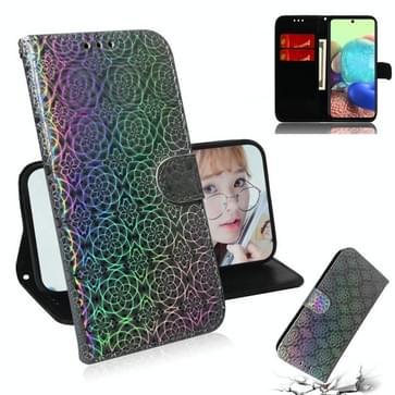 Voor Samsung Galaxy A71 5G Solid Color Kleurrijke Magnetische gesp horizontale flip pu lederen kast met Holder & Card Slots & Wallet & Lanyard(Zilver)