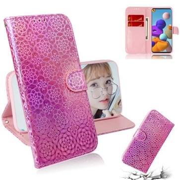 Voor Samsung Galaxy A21s Solid Color Kleurrijke Magnetische Gesp Horizontale Flip PU Lederen case met Holder & Card Slots & Wallet & Lanyard(Pink)