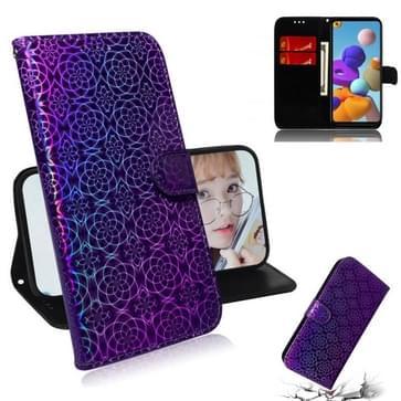 Voor Samsung Galaxy A21s Solid Color Kleurrijke Magnetische Gesp Horizontale Flip PU Lederen case met Holder & Card Slots & Wallet & Lanyard(Paars)