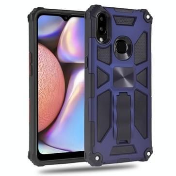 Voor Samsung Galaxy A10s Schokbestendige TPU + PC Magnetische beschermhoes met houder(blauw)