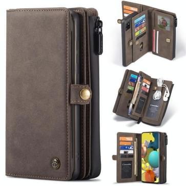 Voor Samsung Galaxy A51 CaseMe 018 Afneembare Multifunctionele horizontale flip lederen case  met kaartslot & houder & ritsportemonnee & fotoframe(bruin)
