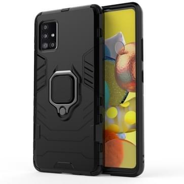 Voor Samsung Galaxy A51 5G Schokbestendige PC + TPU beschermhoes met magnetische ringhouder(zwart)